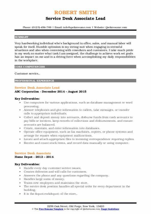 Service Desk Associate Lead Resume Example