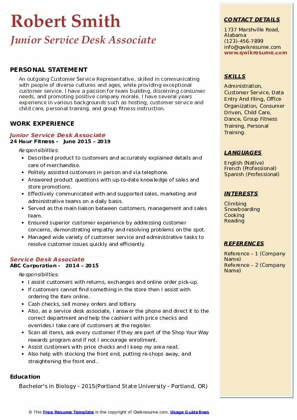 Junior Service Desk Associate Resume Template