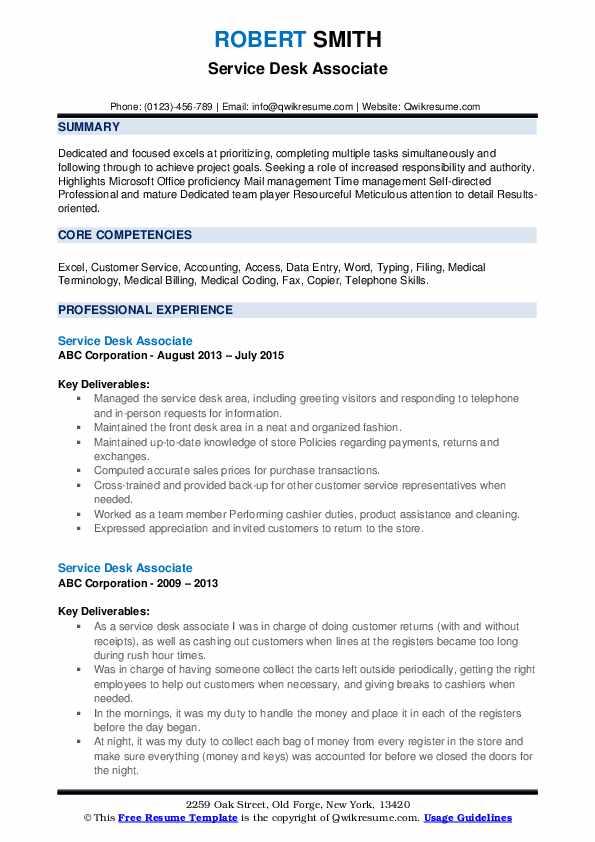 Service Desk Associate Resume example