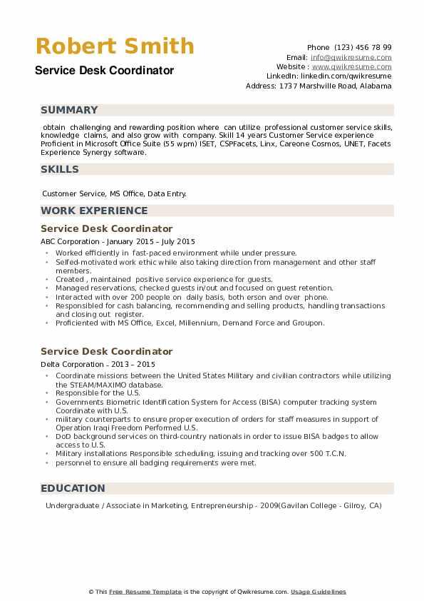Service Desk Coordinator Resume example