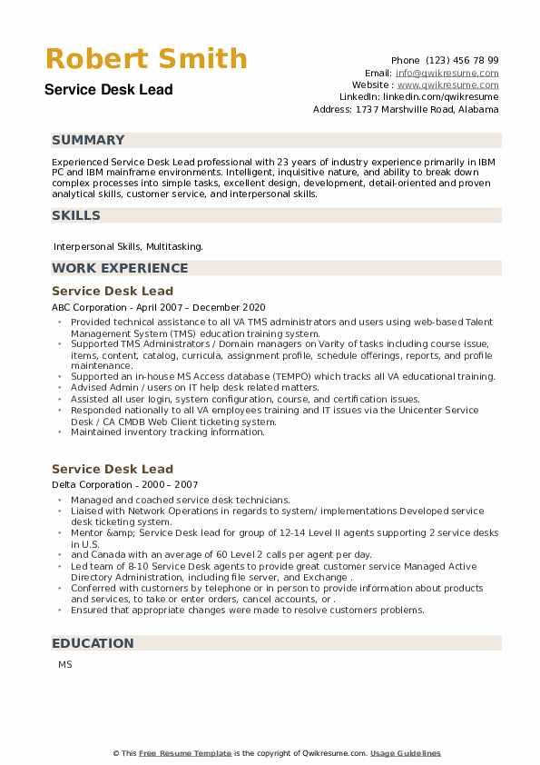Service Desk Lead Resume example
