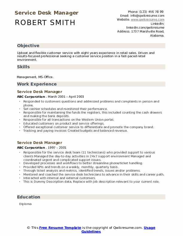Service Desk Manager Resume example