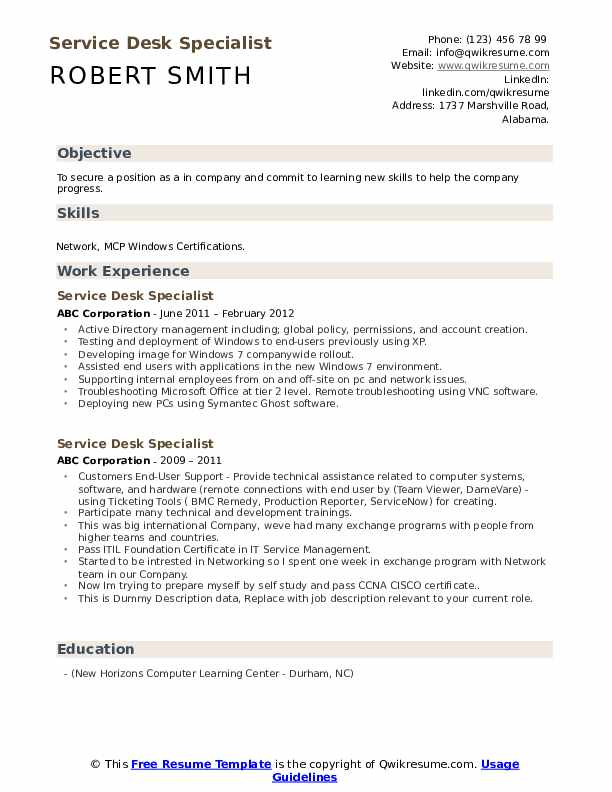 Service Desk Specialist Resume example
