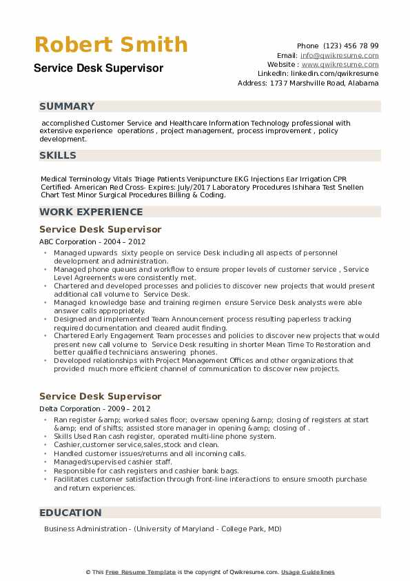 Service Desk Supervisor Resume example