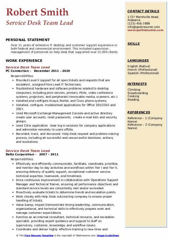 Service Desk Team Lead Resume example