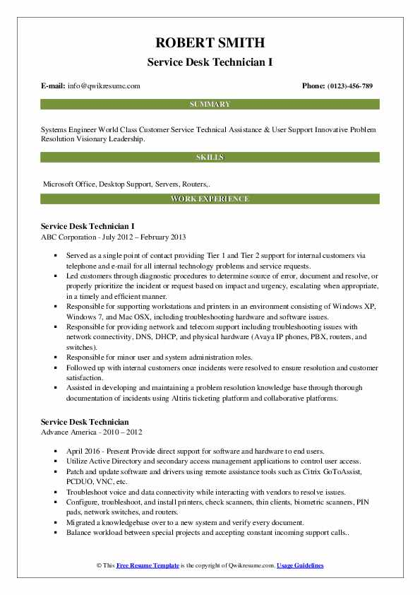 Service Desk Technician I Resume Sample