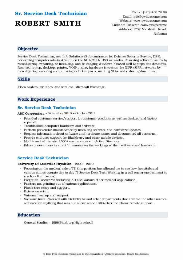 Sr. Service Desk Technician Resume Example