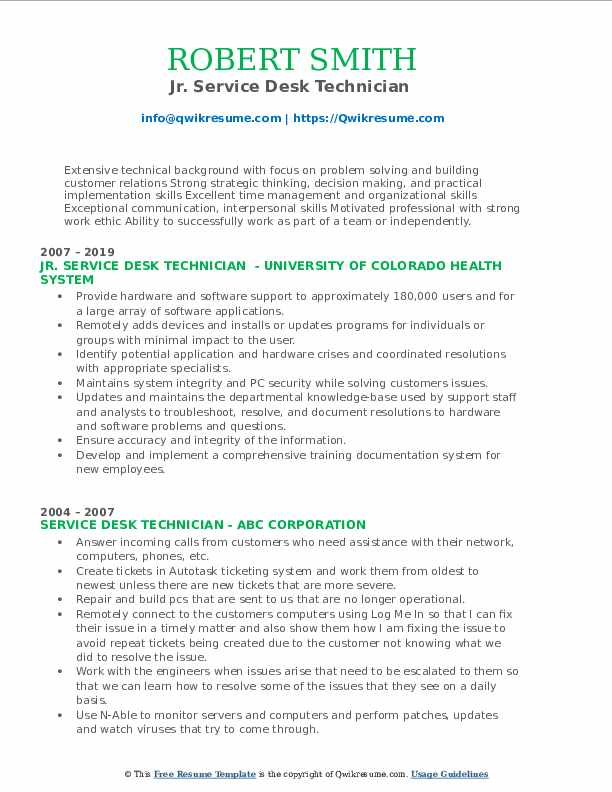 Jr. Service Desk Technician  Resume Model