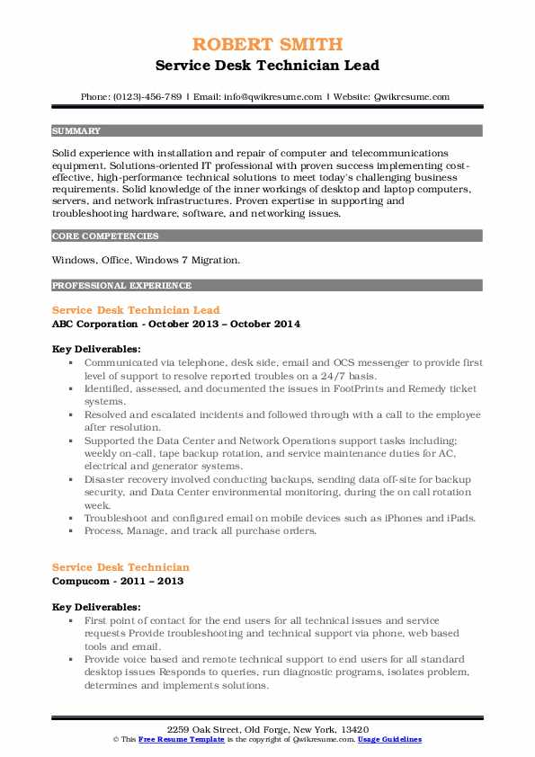 Service Desk Technician Lead Resume Model