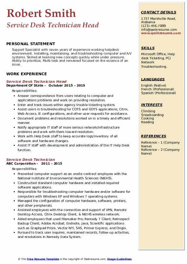 Service Desk Technician Head Resume Model