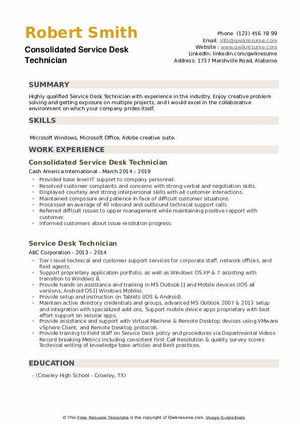 Consolidated Service Desk Technician  Resume Template