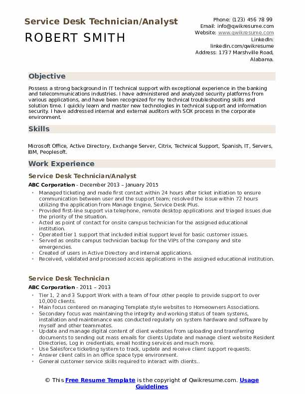 Service Desk Technician/Analyst Resume Example