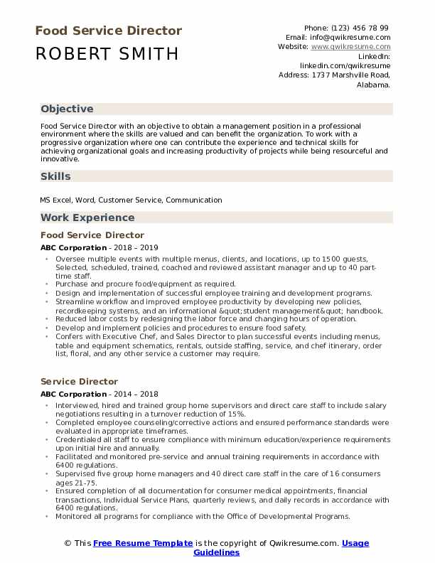 Food Service Director Resume Example