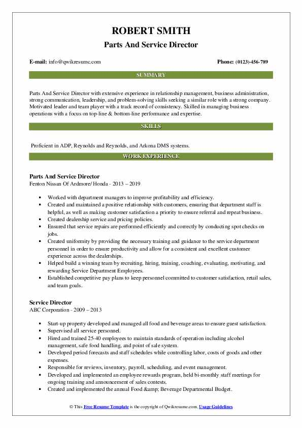 Parts And Service Director Resume Example