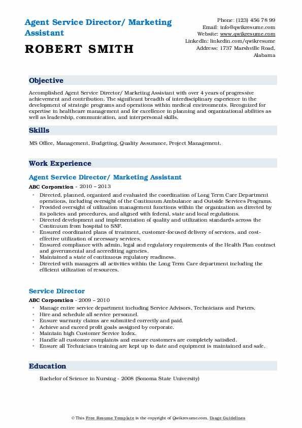 Agent Service Director/ Marketing Assistant Resume Format