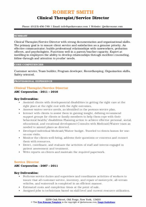 Clinical Therapist/Service Director Resume Example