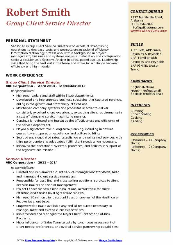 Group Client Service Director Resume Template