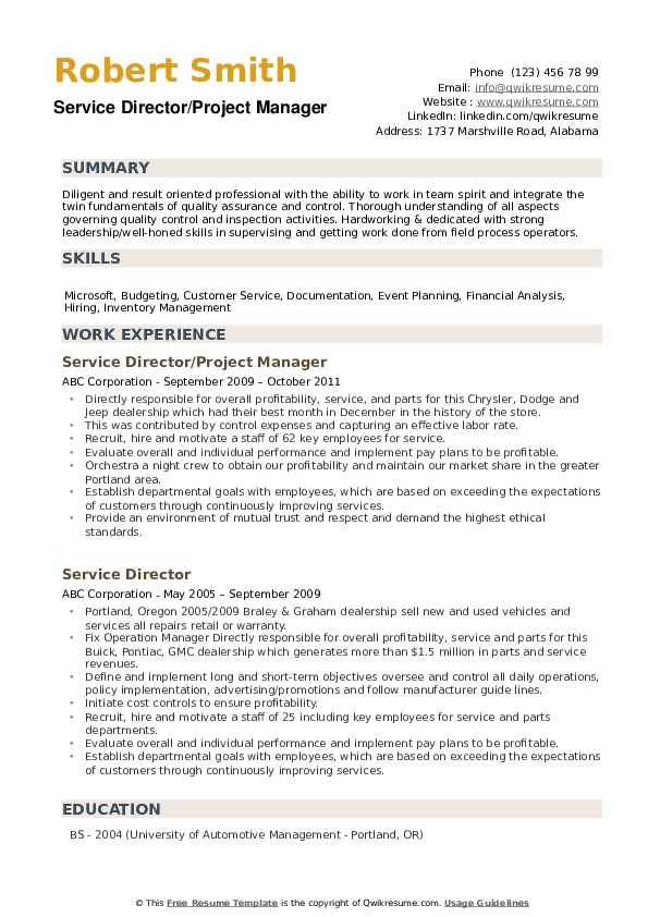 Service Director/Project Manager Resume Example