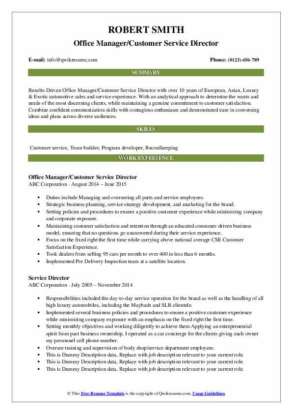 Office Manager/Customer Service Director Resume Sample