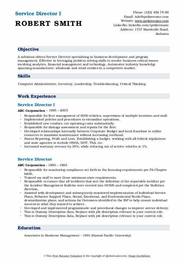 Service Director I Resume Template