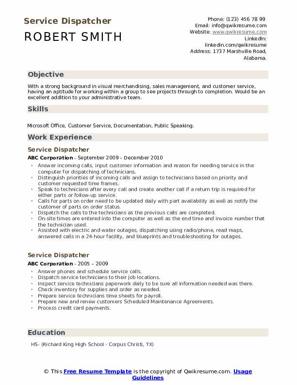 Service Dispatcher Resume Template
