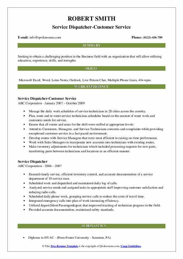 Service Dispatcher-Customer Service Resume Model