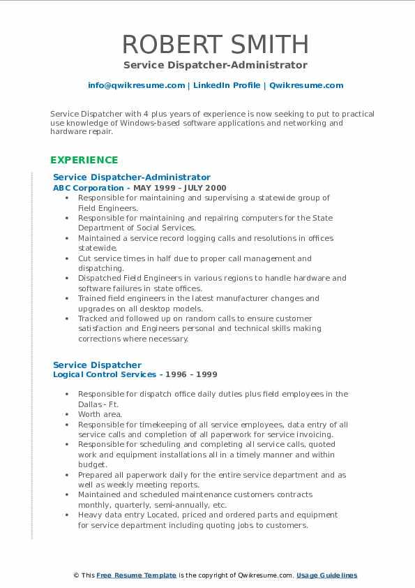 Service Dispatcher-Administrator Resume Model