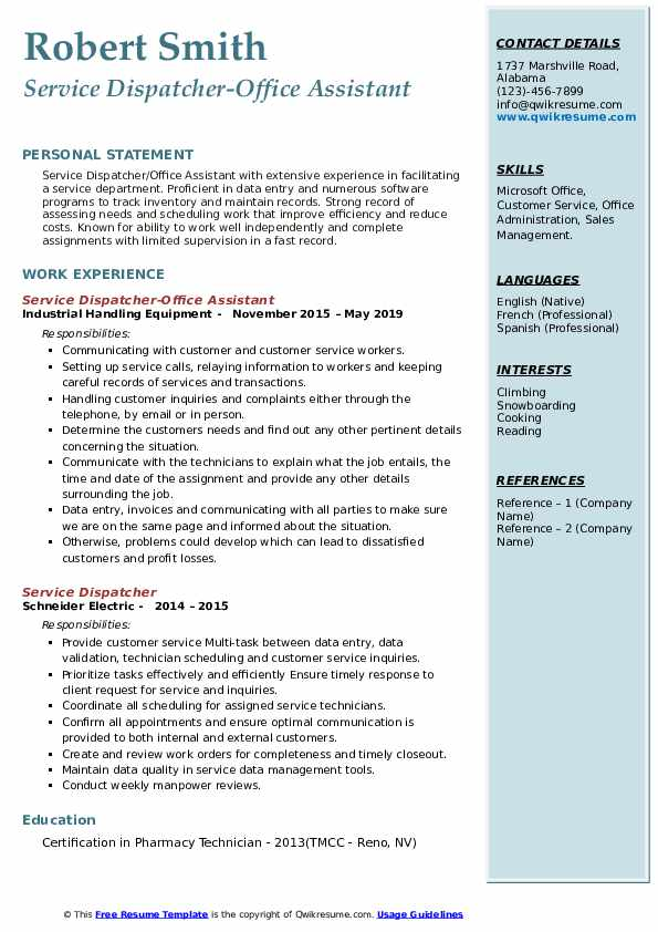 Service Dispatcher-Office Assistant Resume Format
