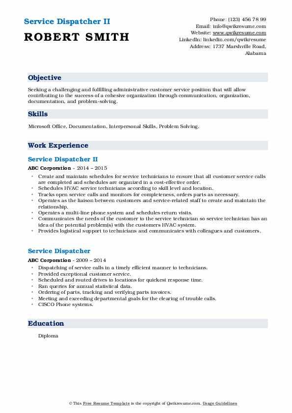 Service Dispatcher II Resume Example