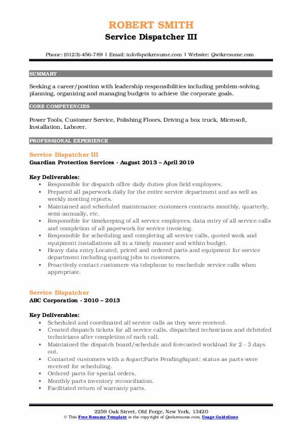 Service Dispatcher III Resume Sample