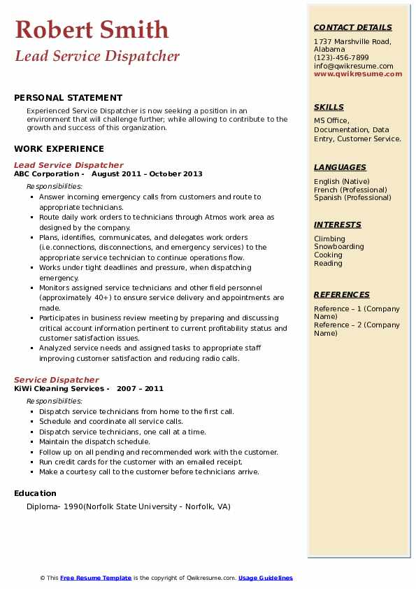 Lead Service Dispatcher Resume Template
