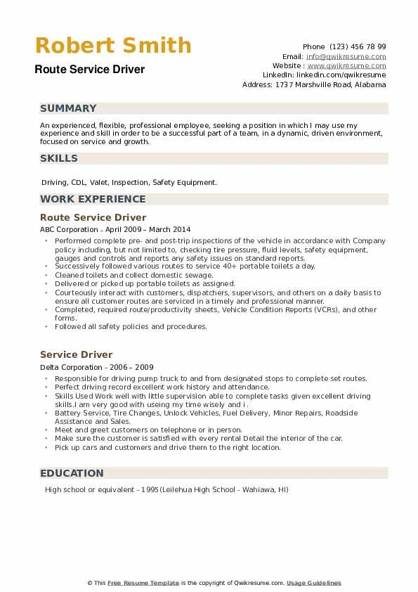 Service Driver Resume example