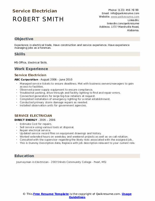 Service Electrician Resume example