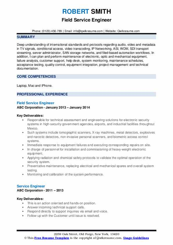 Field Service Engineer Resume Format