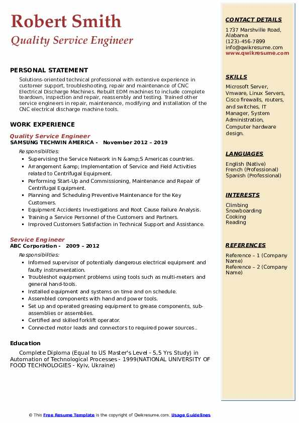 Quality Service Engineer Resume Format