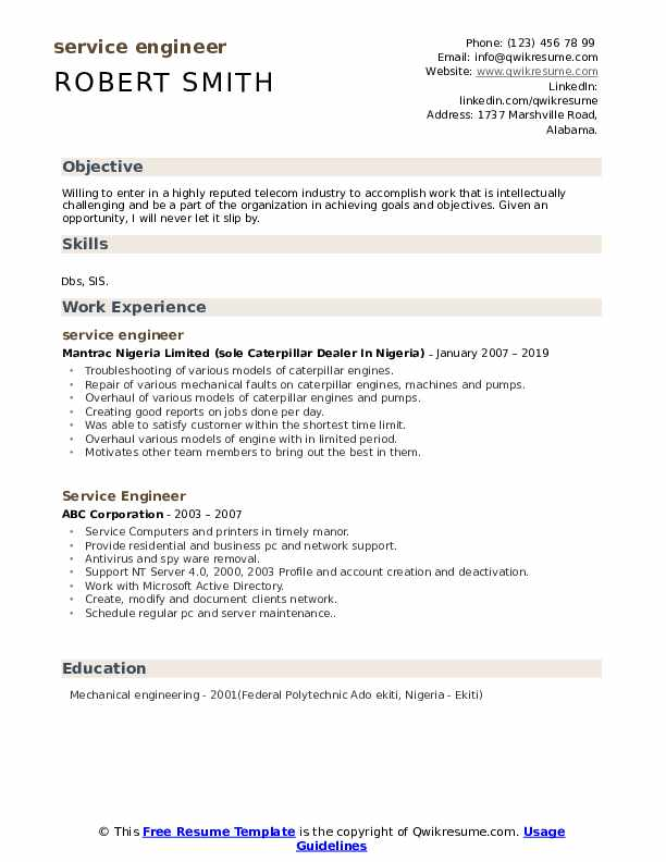 Service Engineer Resume example