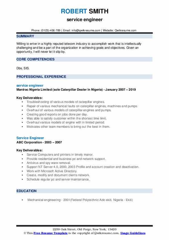 Shop Technician Resume example