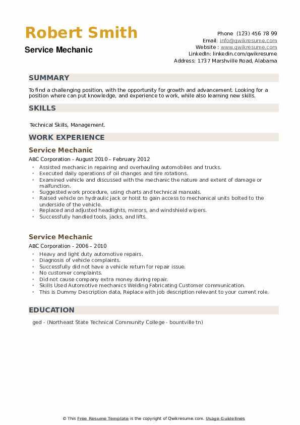 Service Mechanic Resume example