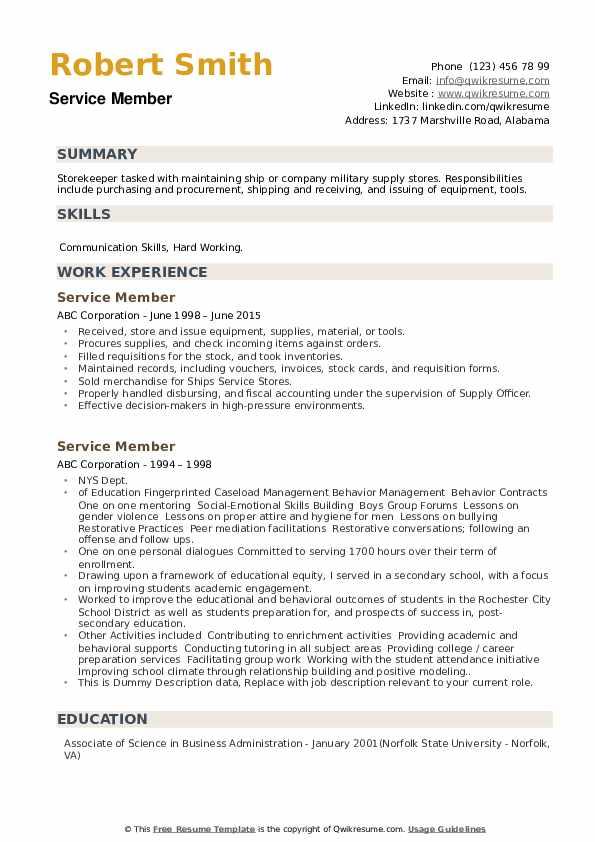 Service Member Resume example