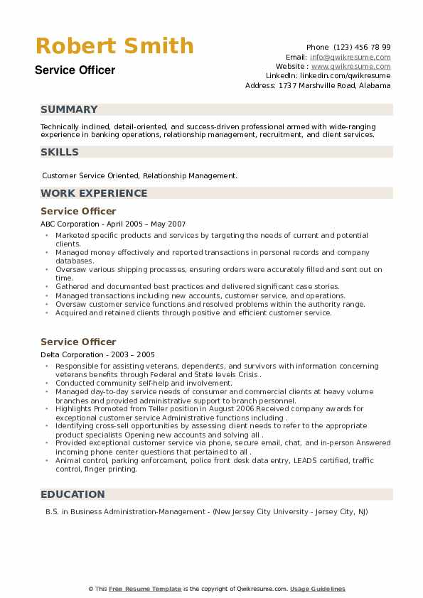 Service Officer Resume example