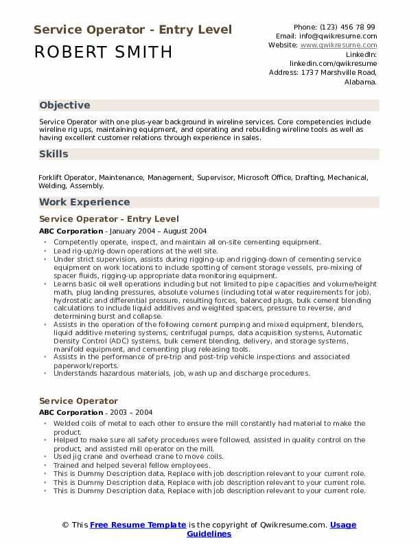 service operator resume samples