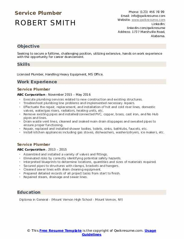 Service Plumber Resume Sample