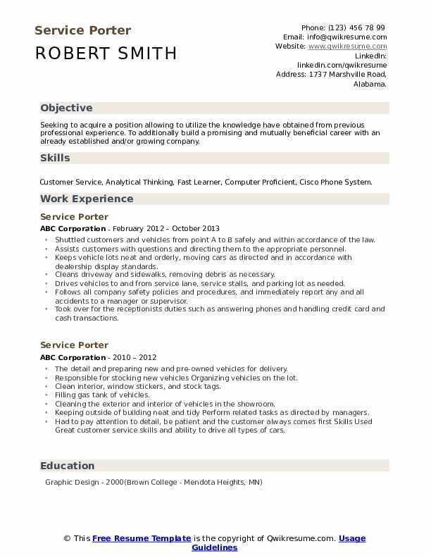 Service Porter Resume example