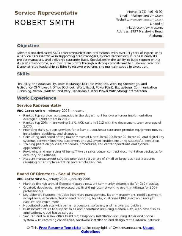 Service Representativ Resume Format
