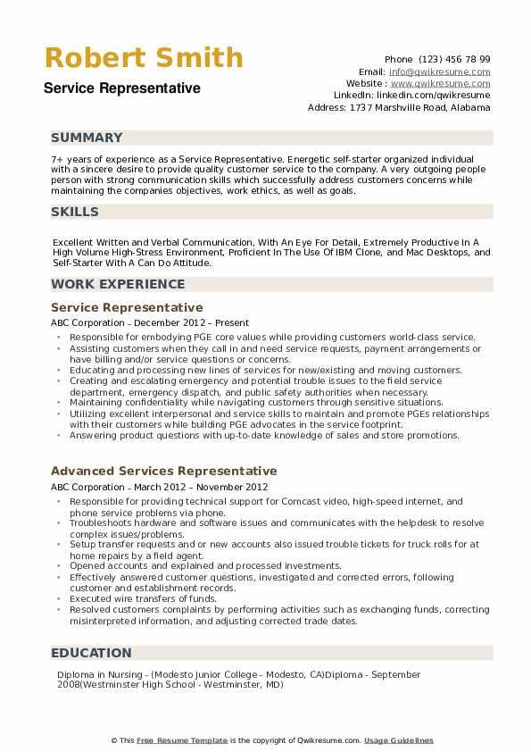 Service Representative Resume example