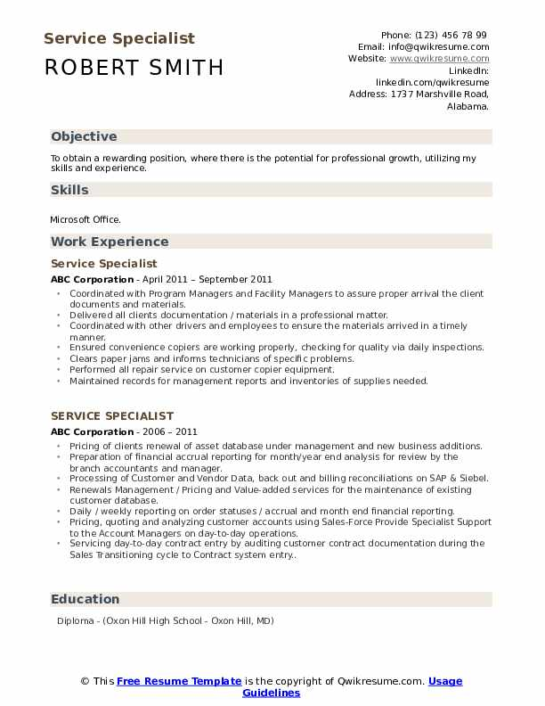 Service Specialist Resume Template