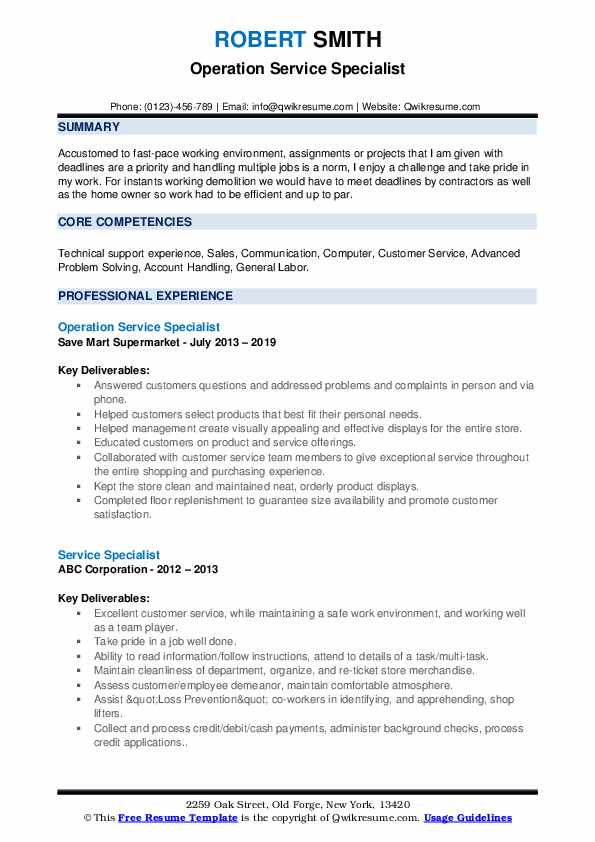 Operation Service Specialist Resume Sample