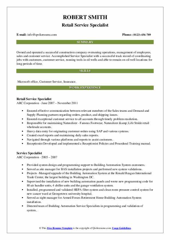 Retail Service Specialist Resume Sample