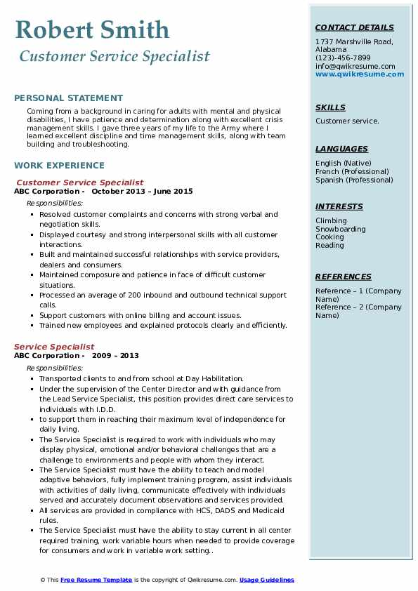 Customer Service Specialist Resume Template