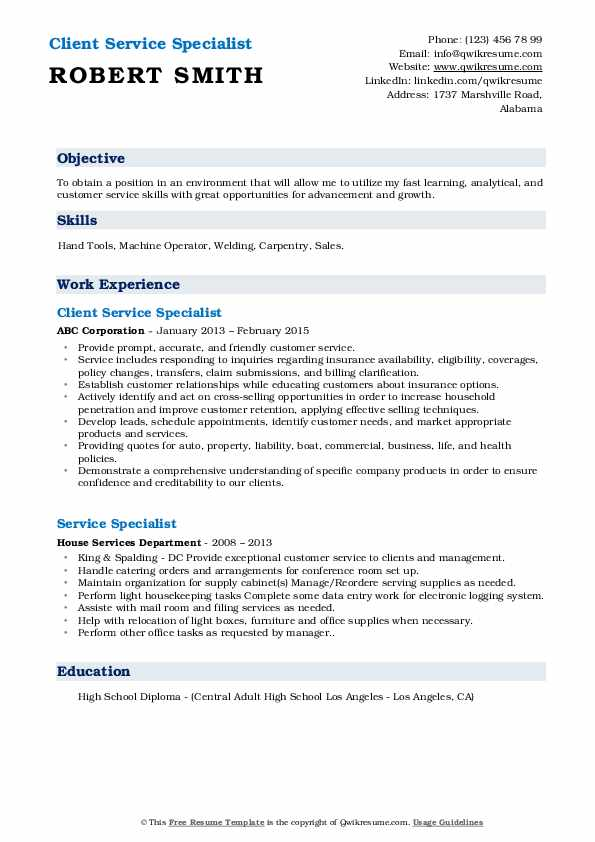 Client Service Specialist Resume Template